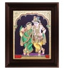 Multicolour Gold Plated Krishna Rukmani Cloth & Plywood 2.9 X 14 X 18 Inch Framed Tanjore Painting by MyAngadi