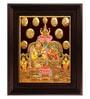 Myangadi Multicolour Gold Plated Kubera Laxmi Framed Tanjore Painting