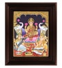 Multicolour Gold Plated Saraswati Ganesh Framed Tanjore Painting by MyAngadi