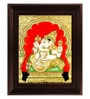 Myangadi Multicolour Gold Plated Ganesha Plywood & Cloth Framed Tanjore Painting