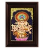 Myangadi Multicolour Gold Plated Lotus Ganesha Framed Tanjore Painting