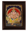 Multicolour Gold Plated Mantap Ganesha Plywood & Cloth 2.9 X 14 X 18 Inch Tanjore Painting by MyAngadi