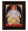 Multicolour Gold Plated Mantap Ganesha Plywood & Cloth 2.9 X 14 X 18 Inch Framed Tanjore Painting by MyAngadi