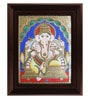 Multicolour Gold Plated Mantap Ganesha Cloth & Plywood 2.9 X 14 X 18 Inch Tanjore Painting by MyAngadi
