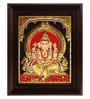 Multicolour Gold Plated Mantap Ganesha Plywood & Cloth Framed Tanjore Painting by MyAngadi