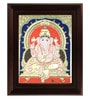 Multicolour Gold Plated Mantap Ganesha Cloth & Plywood 2.9 X 14 X 18 Inch Framed Tanjore Painting by MyAngadi