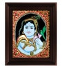 Multicolour Gold Plated Parrot Krishna Framed Tanjore Painting by MyAngadi