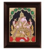 Multicolour Gold Plated Ganesha Plywood & Cloth Framed Tanjore Painting by MyAngadi