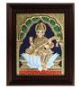 Myangadi Multicolour Gold Plated Saraswathi 2.9 X 14 X 18 Inch Framed Tanjore Painting