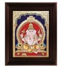 Multicolour Gold Plated Ganesha Cloth & Plywood Framed Tanjore Painting by MyAngadi