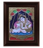 Multicolour Gold Plated Krishna on Swing Tanjore Framed Painting by MyAngadi