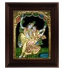 Multicolour Gold Plated Swinging Radha Krishna Framed Tanjore Painting by MyAngadi