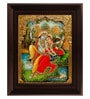 Multicolour Gold Plated Swinging Radha Krishna 2.9 X 14 X 18 Inch Framed Tanjore Painting by MyAngadi