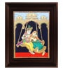 Multicolour Gold Plated 2.9 X 14 X 18 Inch Swinging Radha Krishna Framed Tanjore Painting by MyAngadi