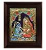 Multicolour Gold Plated Yasotha Feeding Krishna Tanjore Framed Painting by MyAngadi