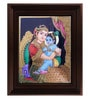 Multicolour Gold Plated Yasotha Krishna Tanjore Cloth & Plywood Framed Painting by MyAngadi