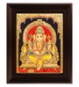 Multicolour Gold Plated Dhoti Ganesha Framed Tanjore Painting by MyAngadi