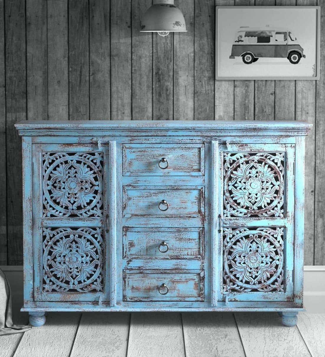 Buy Natina Solid Wood Sideboard In Blue Distress Finish By Bohemiana Online Industrial Sideboards Sideboards Furniture Pepperfry Product