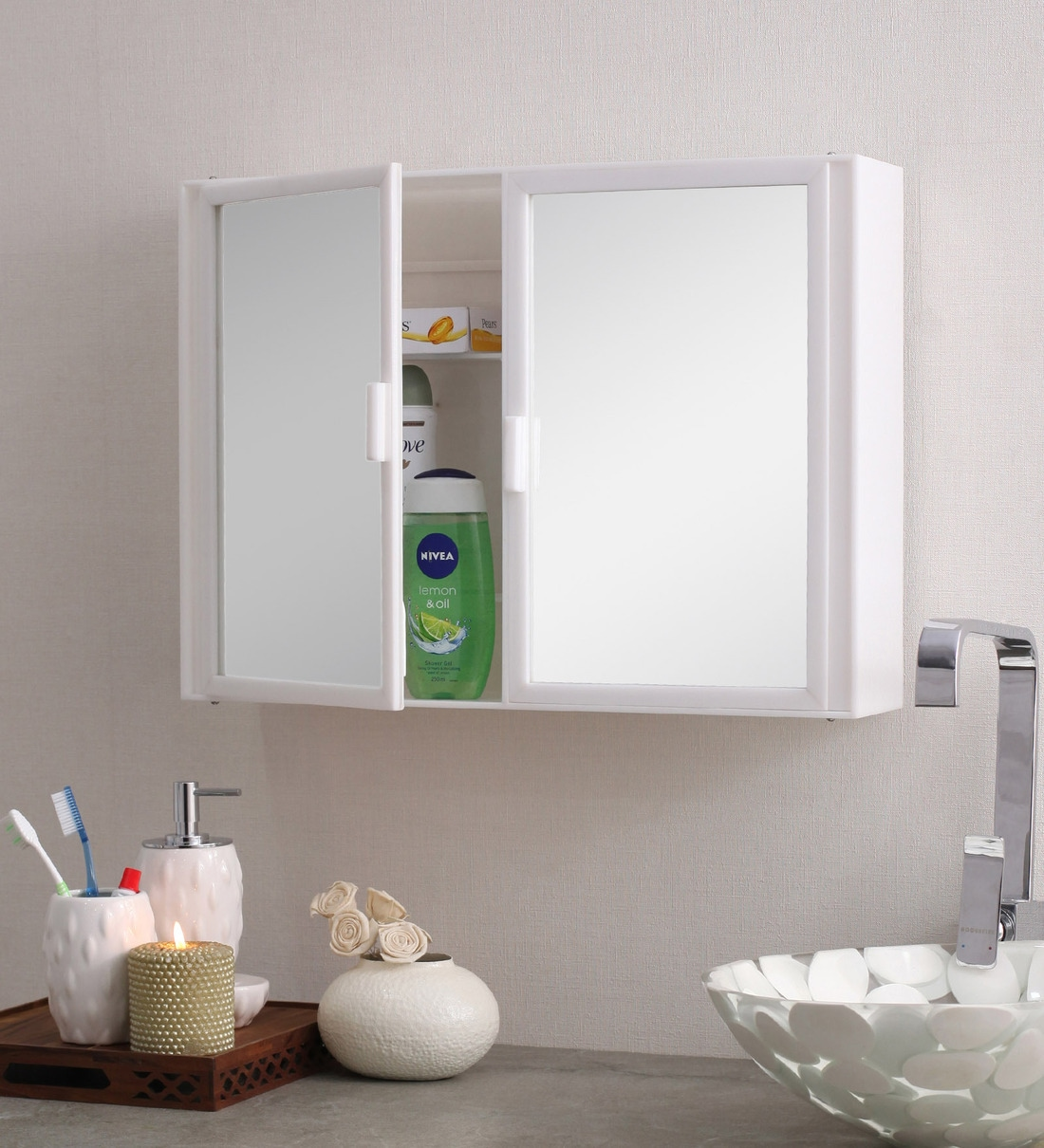 Picture of: Buy Acrylic White 8 Compartment Bathroom Cabinet L 22 W 4 H 16 Inches By Navrang Online Plastic Cabinets Bathroom Cabinets Discontinued Pepperfry Product