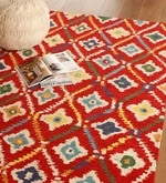 Red Wool 120 x 96 Inch Abstract Pattern Area Rug
