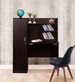 Nakamura Study Table with Cabinet in Dark Brown Finish