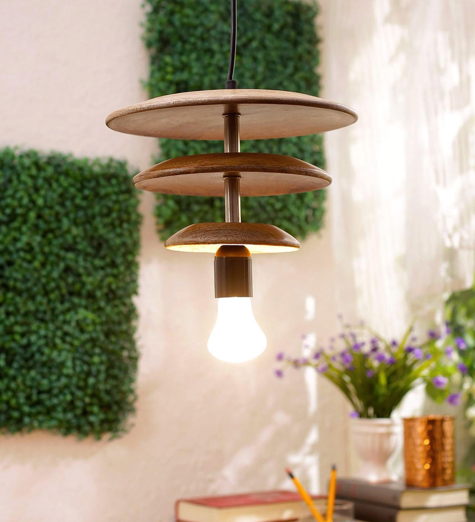 Yvonne Mango Wood Layered Hanging Light by Bohemiana