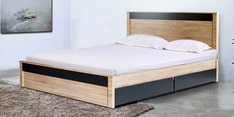 Nanami Queen Size Bed with Storage in Hana Oak & Dark Grey Finish
