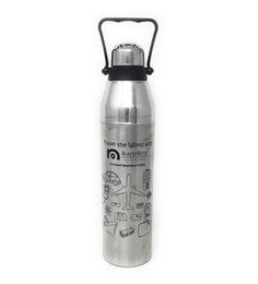 Nano 9 Double Wall Insulated Black & Silver Stainless Steel 1.1 L Cola Bottle