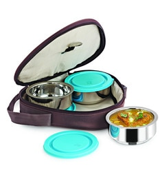 Nano 9 Junior Double Wall Insulated Silver Stainless Steel 250 ML Lunch Box - Set Of 3