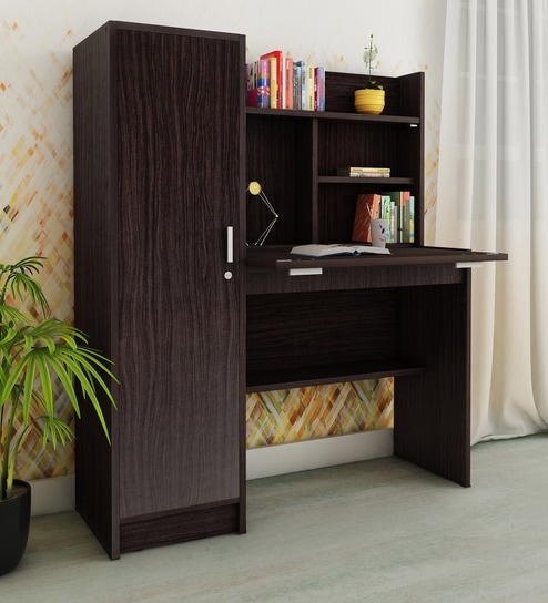 Buy Nakamura Study Table With Cabinet In Wenge Finish By Mintwud