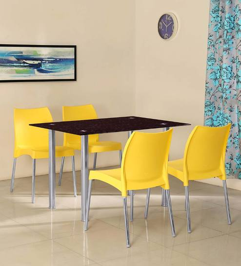 Napoli Four Seater Dining Set With Yellow Colour Chairs By @home