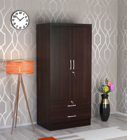 Buy Nariko Two Door Wardrobe With Two Drawers In Wenge Finish By