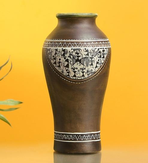 Buy Natural Mud Brown Terracotta An Earthen Vessel Vase By