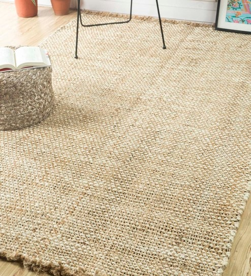Naturals Hand Woven Beige 5x8 Feet Jute Solids Pattern Area Rug By Jaipur Rugs