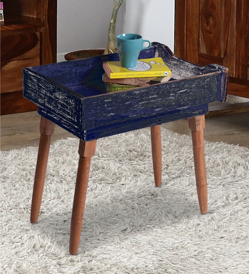 Nautical End Table In Blue Distress Finish By Desi Jugaad