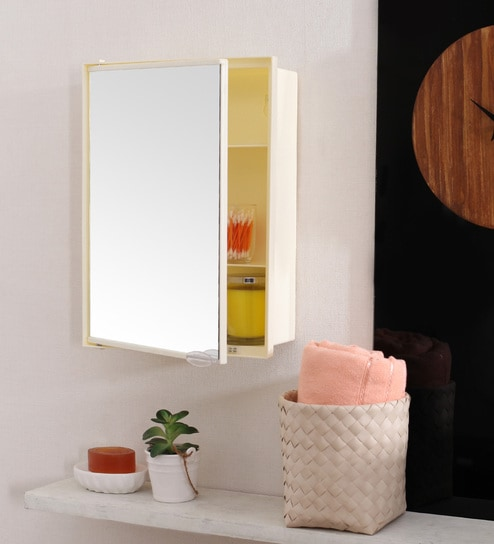 Plastic Ivory 4 Compartment Bathroom Cabinet With Mirror L 12 W 4 H 19 Inches By Navrang