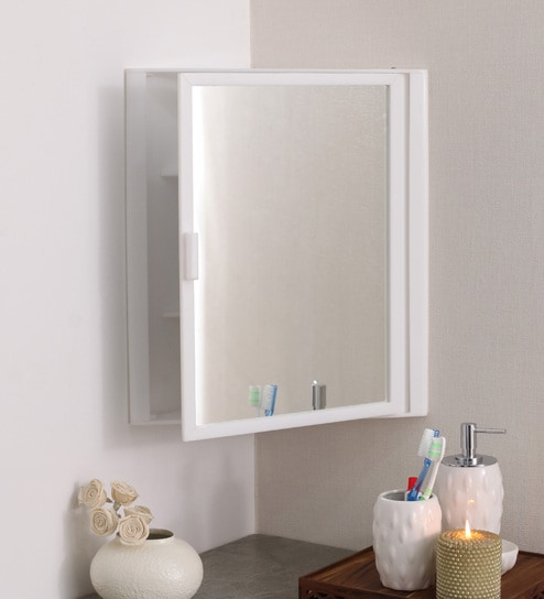Wondrous Acrylic White 4 Compartment Bathroom Corner Cabinet With Mirror L 15 H 18 Inches By Navrang Home Interior And Landscaping Ferensignezvosmurscom