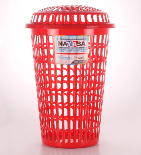Nayasa Plastic Red Round Laundry Basket Online Baskets Bath Pepperfry Product