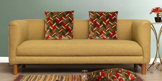 Napier Three Seater Sofa With Cushions In Brown Colour By Peachtree