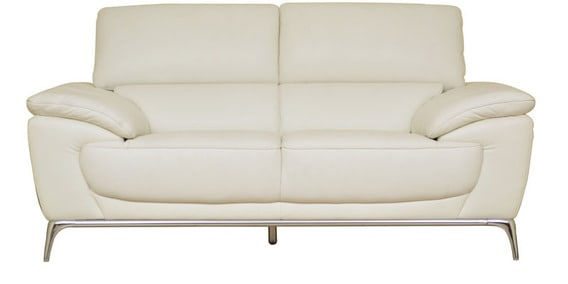 Naples Half Leather Two Seater Sofa In White Colour By Hometown