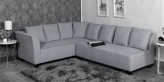 naples interchangeable l shaped sofa set with cushions in grey colour