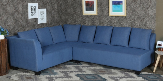 Naples L Shaped Sofa Set With Cushions In Blue Colour By Minthomez