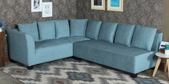 Naples L Shaped Sofa Set With Cushions In Teal Colour By Minthomez