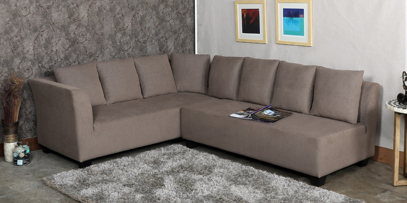 Buy Naples L Shaped Sofa Set With Cushions In Brown Colour