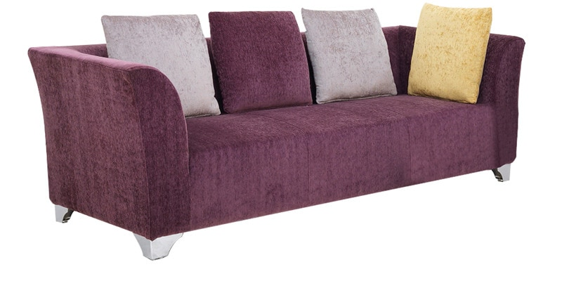 Buy Naples Three Seater Sofa With Arms In Purple Colour By