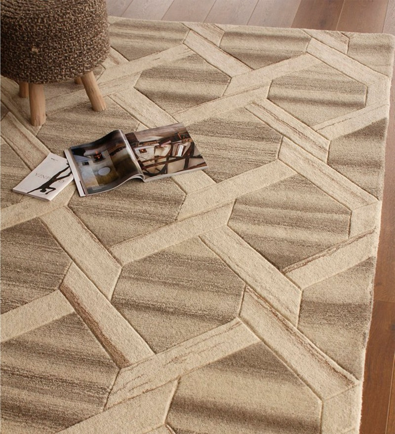 Brown Wool 91 x 63 Inch Geometric Pattern Area Rug by The Rug Republic