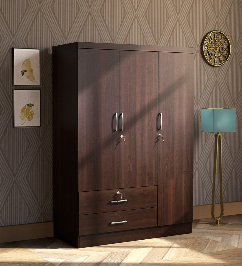 Buy Nariko Three Door Wardrobe In Wenge Finish By Mintwud