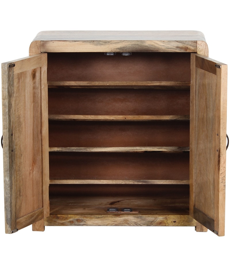 Buy Dover Shoe Rack In Natural Mango Wood Finish By