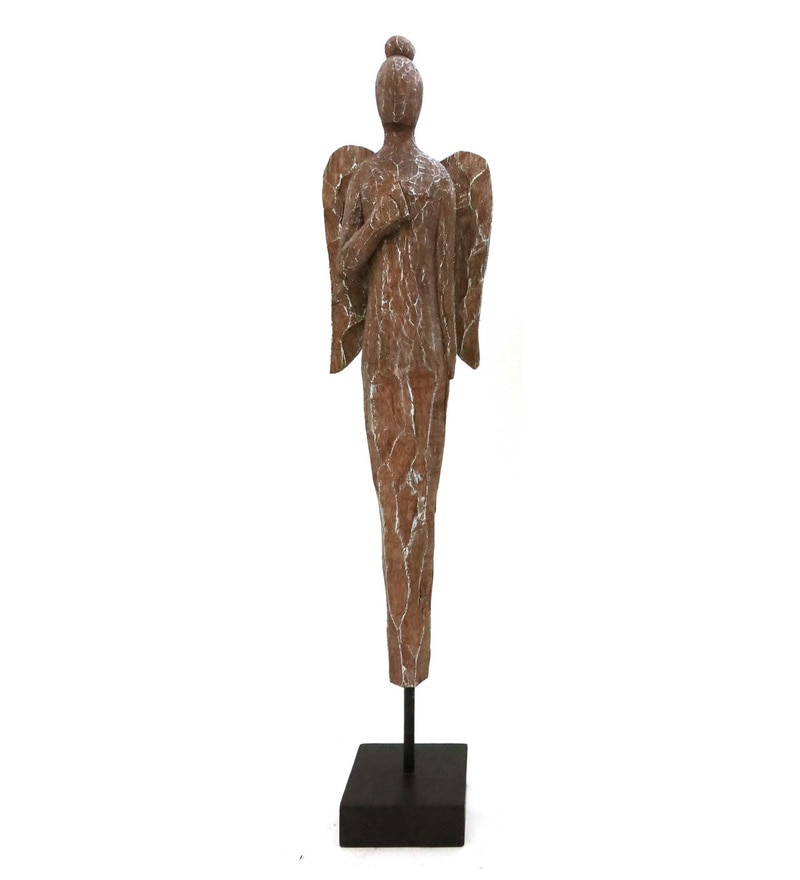 Natural Mango Wood & Iron Angel Chisseled Figurines by Forms