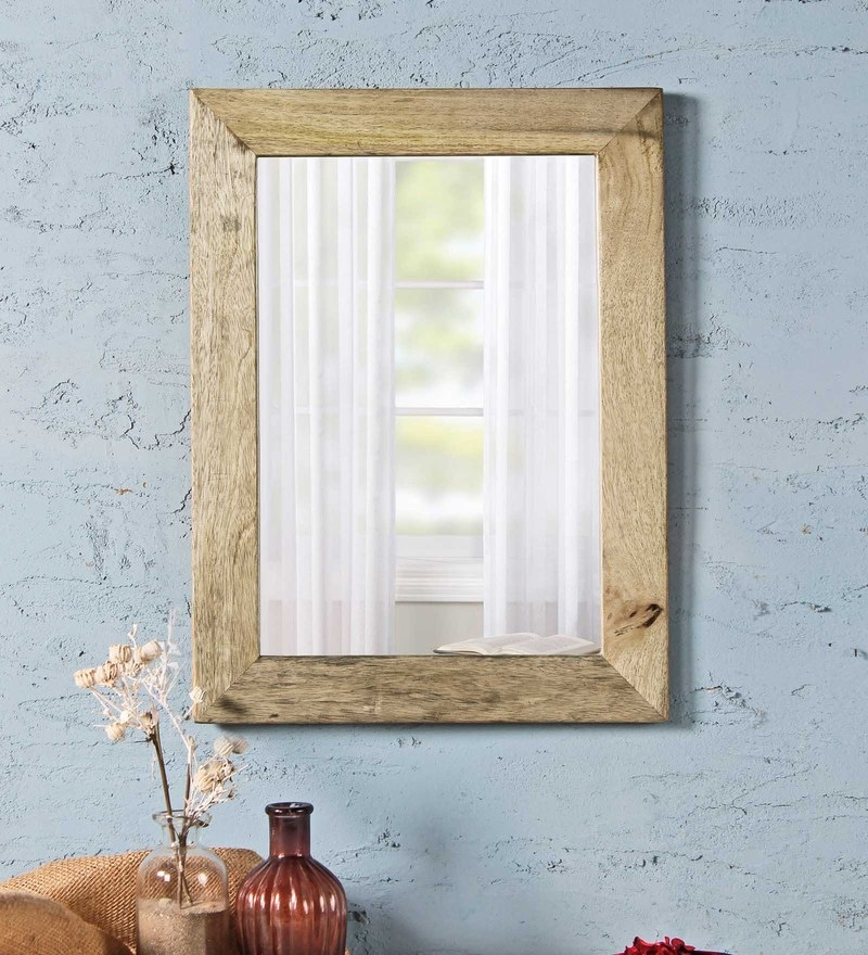 Natural Solid Wood & Glass Cambrian Mirror by Fabuliv